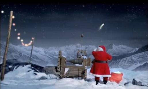 Shooting star sent up by Santa in Coca Cola television commercial