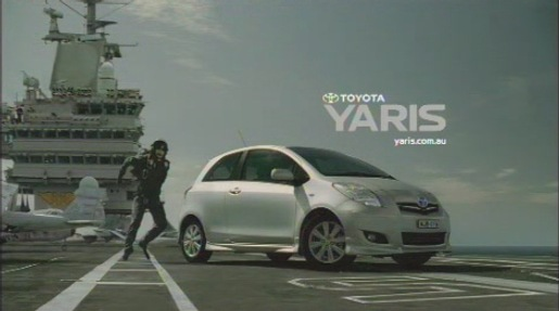Toyota Yaris on aircraft carrier