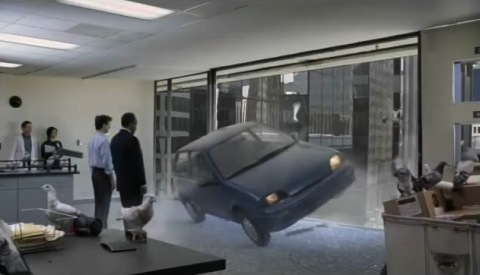 Car smashes through window in Fedex Carrier Pigeon TV ad