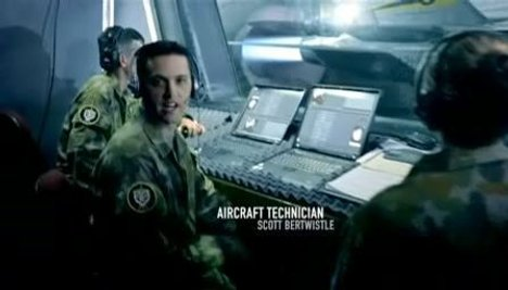 Aircraft technician in Airforce recruitment TV ad