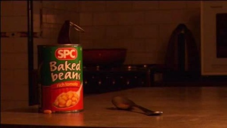 Baked Beans tin in Earth Hour ad
