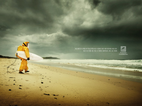 Surfer in yellow protection suit