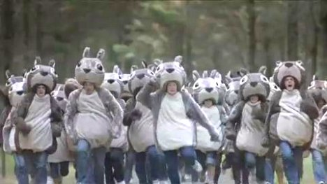 Squirrel people in Cadbury Boost ad