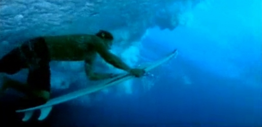 Surfer under water in Red Bull Surfing commercial