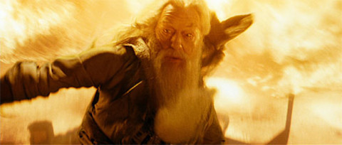 Dumbledore surrounded by fire