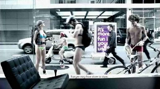 Models in undies in KMart TV commercial