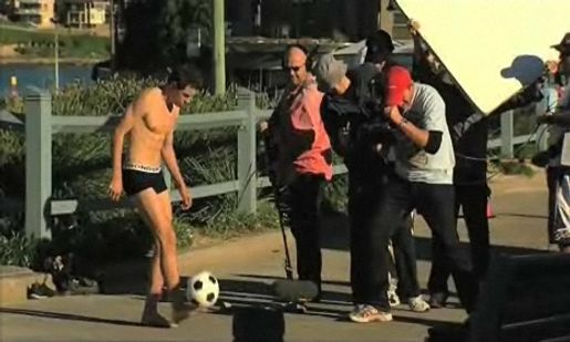 Film crew at Cronulla with Bonds Short shoot