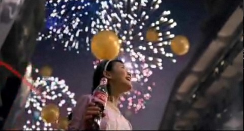 Coca cola drinking girl and fireworks