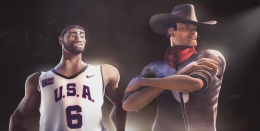 Lebron James and cowboy in Coca Cola television commercial