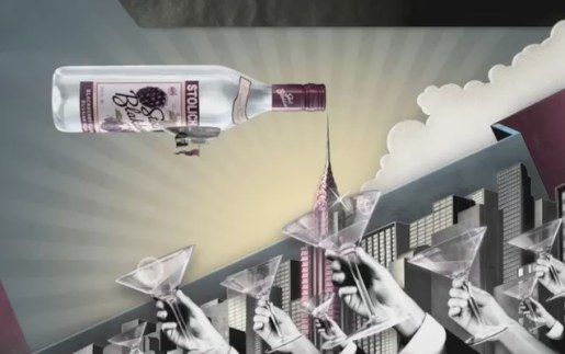 Blackberries stowed in airship for Stolichnaya Airship commercial