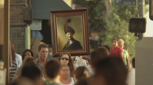 Man with portrait for a head in Getty Center TV commercial