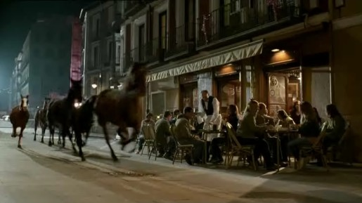 Horses running through street in ATG commercial