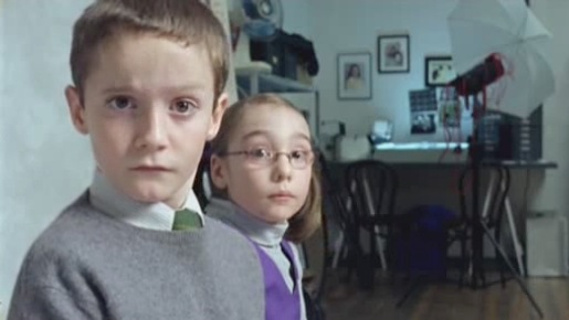 Boy and girls twitch their eyebrows in Cadbury commercial