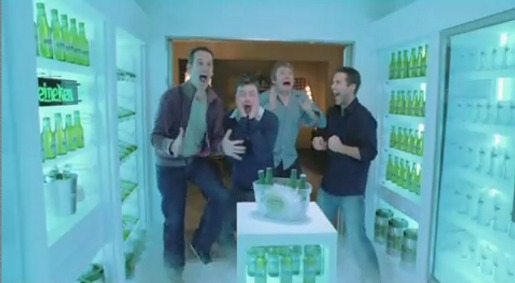 Men scream with joy in Heineken Walk In Fridge