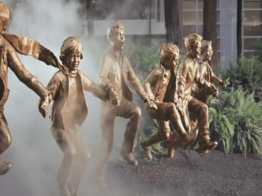 LG Steam Cloud cleans bronze children in Transamerica Redwood Park in San Francisco