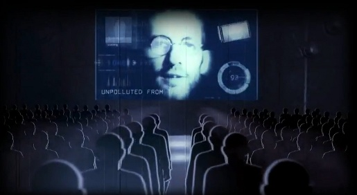 Steve Jobs in Double Twist spoof of 1984 Apple ad