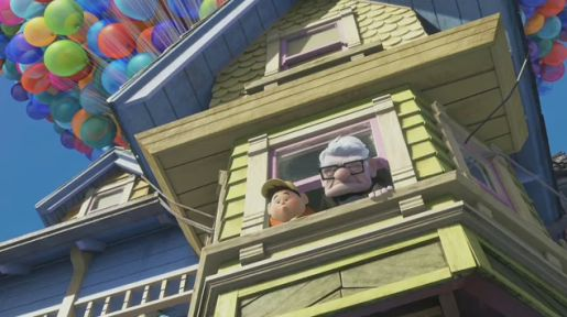 Carl Fredricksen and Russell in Pixar movie Up