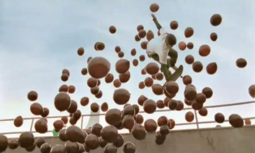Burnquist skates through brown balloons in Aero commercial