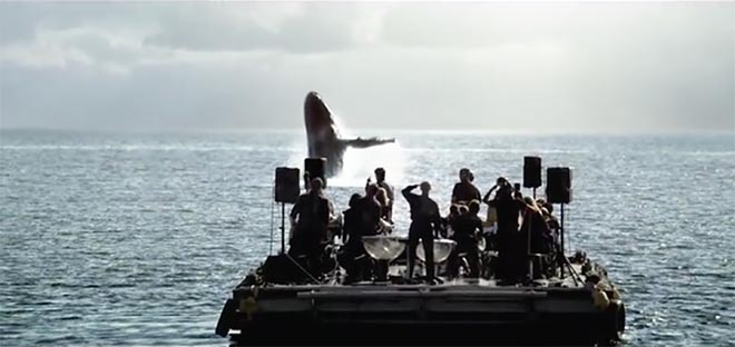 Optus Whale Song orchestra watching humpback whale