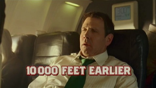 Emerald Nuts commercial shows airline passenger at 3 pm
