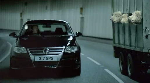 VW Passat and Sheep in Positive Thinking TV advert