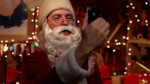Santa with iPhone 4