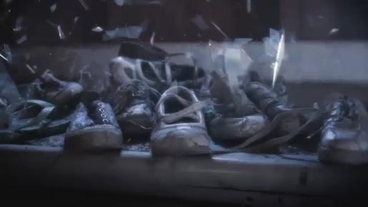 Stop the Traffik Act Now PSA with shoes and broken glass