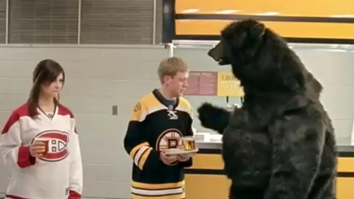 Boston Bruins Bear and couple in Date commercial