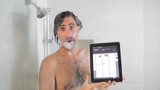 Jason Schwartzman in the shower for New Yorker iPad app advertisement