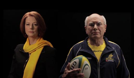 Julia Gillard and John Howard in Qantas Wallabies One Team commercial