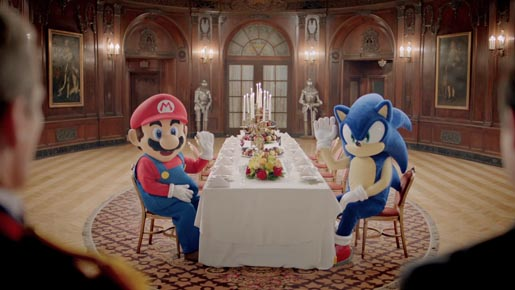 Mario and Sonic in London dining room