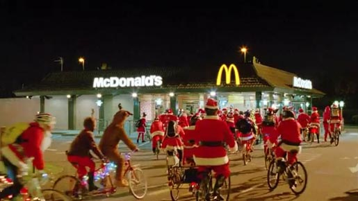 McDonalds Cycling Santas