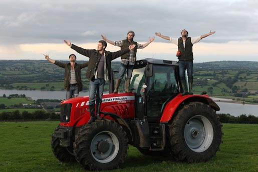 Yeo Valley boy band Churned on tractor