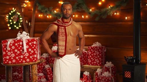 Isaiah Mustafa in Old Spice Christmas commercial