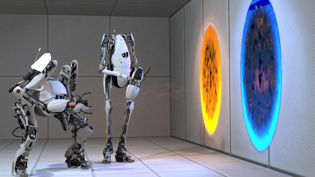 Portal 2 with atlas and p body the inspiration room for 3 portals
