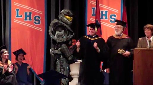 Halo's Spartan in High School Graduation