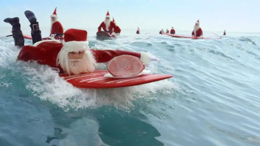 Aldi Surfing Santa with Ham