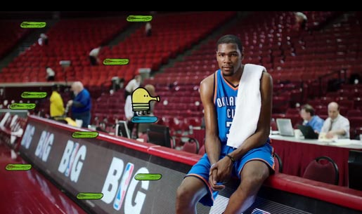 Kevin Durant Doodle Jump in Sprint Unlimited ad