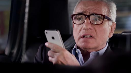 Martin Scorsese talking to iPhone Siri