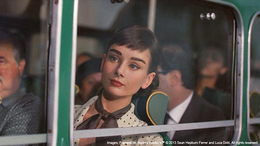 Audrey Hepburn on bus in Galaxy chocolate ad
