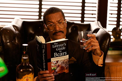 Jim Beam lawyer Jackie Chiles with Lawyer's Guide to Bears