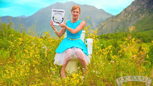 PooPourri Girl on Toilet with Flowers