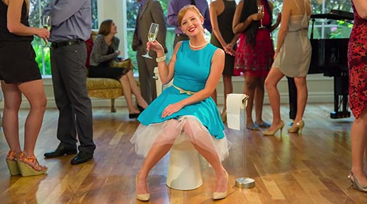 PooPourri Girl on Party Toilet