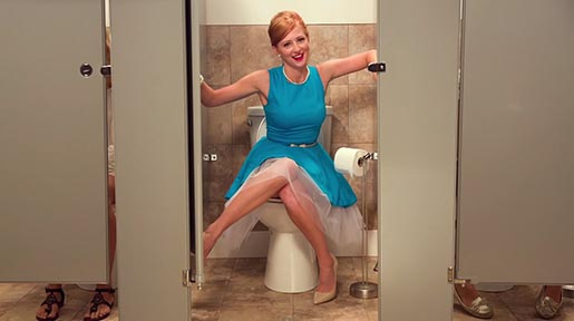 PooPourri Girl in Public Toilet