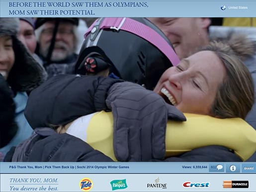 P&G Sochi Olympics Moms commercial and YouTube site