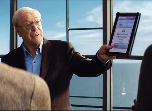 Sky Broadband ad with Michael Caine