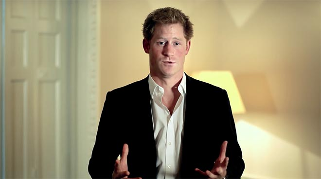 Prince Harry in a suit for Sentebale commercial