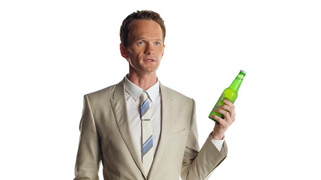 Neil Patrick Harris with Heineken Light bottle