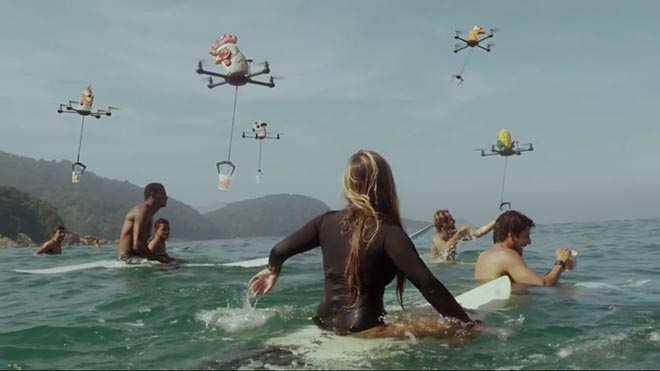 Cup Noodles Drones with Surfers