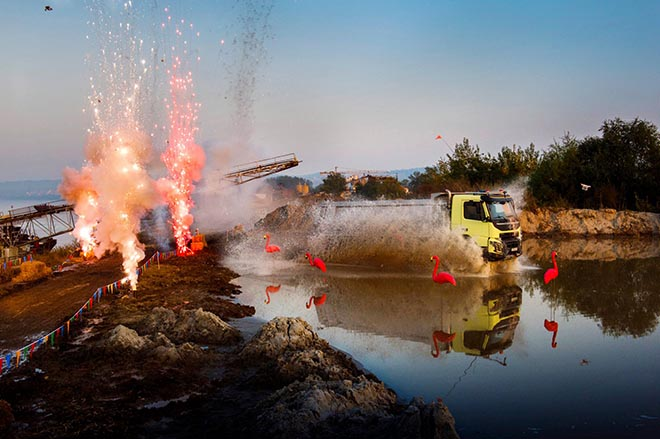 Volvo truck fireworks and water